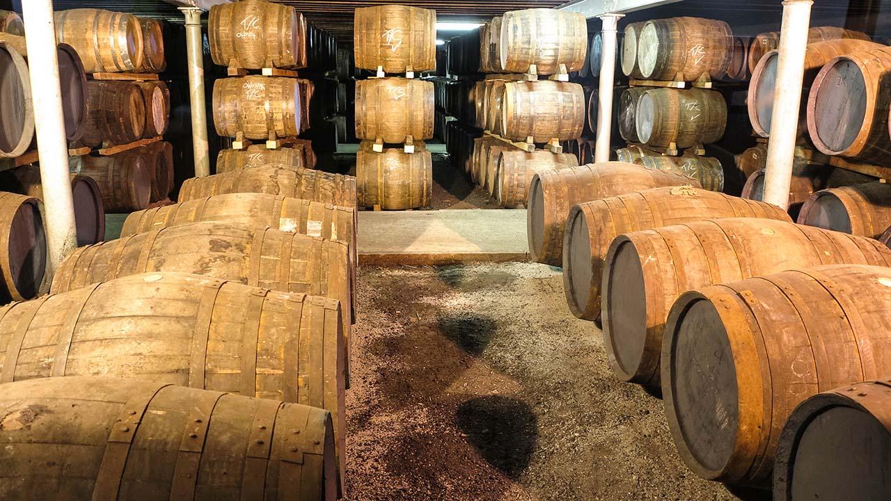 Skotská whisky v sudech